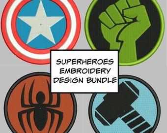 Marvel Embroidery Design bundle: hulk, thor, captain america, spiderman