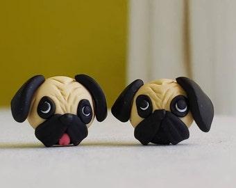 Pug earrings. Cute pug studs.Pug jewelry. Pug lover gift. Pug earrings. Cute pug earrings. Sensitive ears. Pug. Pug studs.Dog earrings