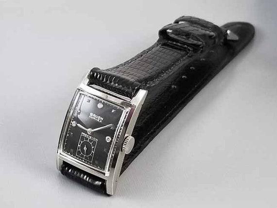 Vintage Art Deco 1950s 14k white gold black diamond dial Gruen Curvex wrist watch