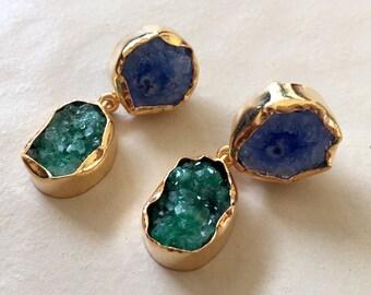 Blue Agate Earring/Green Druzy Earrings/Statement Earrings/Natural Gemstone Earrings/Gold Earrings