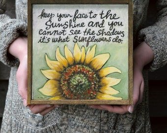 Sunflowers, Wall Art, Yellow Flowers Wall Art, Encouragement Gift, Helen Keller Quote, Framed Art, Art Gift, Framed Art Print, Gift For Her