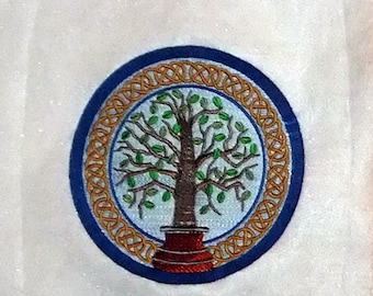Celtic Tree of Life II (embroidered wall art)