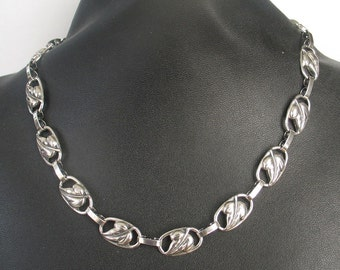 SALE Vintage Danecraft  Deco Leaf Sterling Necklace