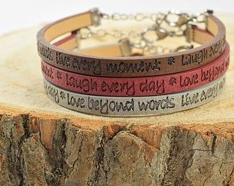 Mindfulness Gift, Friendship Bracelet for 3, Inspirational Bracelet, Quote Braclet, Inspirational Gift Bracelet, Friendship Jewelry