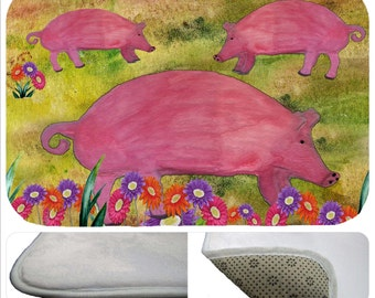 Pigs daisy farm rug mat, kitchen or  bathmat from my art
