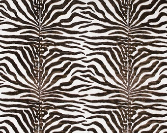 SCALAMANDRE EL MOROCCO Zebra Cut Velvet Silk Fabric 5 Yards Espresso