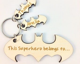 Personalised Superhero Keyring, Fathers Day Gift, Wooden, Batman, Gift for Dad, Gift for Grandad, Superdad, keychain