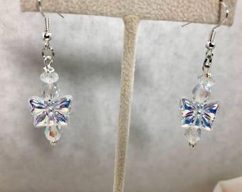 Aurora Borealis AB Clear Butterfly Bead Dangle Earrings Doodaba