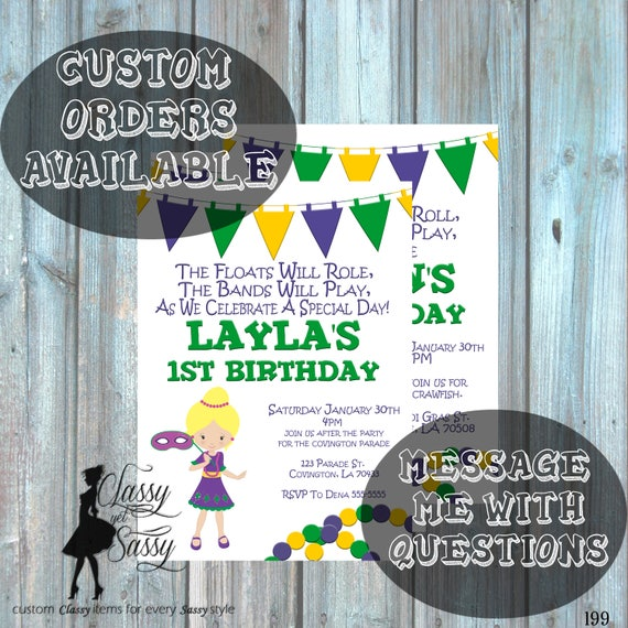 Mardi Gras Birthday Party Invitation, Mardi Gras Party, Parade party,  New Orleans Baby, New  Orleans Birthday Invitation-199