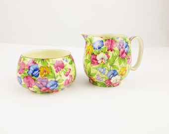Sweet Peas - Chintz Creamer and Sugar Bowl From Royal Winton, England -  1938 'Sweet Pea' Pattern - Grimwades, England - Lovely Gold Detail