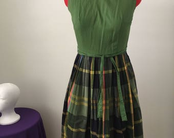 """1950s Green and Plaid cotton day dress XSSW S 24"""""""