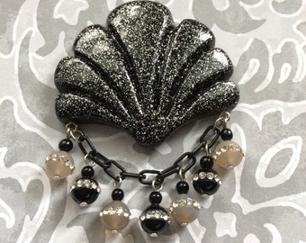 Beyond the Sea - Confetti Lucite Style Deco Shell Brooch in Black and Silver with Onyx Beads Inlayed with Crystals All Around