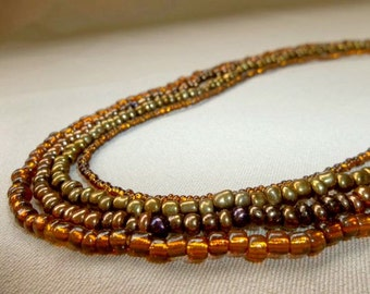 Gold Multi Strand Beaded Necklace, Beaded Necklace, Multi Strand Necklace, Gold Beaded Necklace, Strand Necklace, Beaded