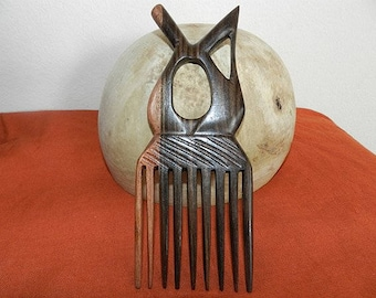 Wooden sculpture African comb sign love luxury African art black and Brown ebony wood