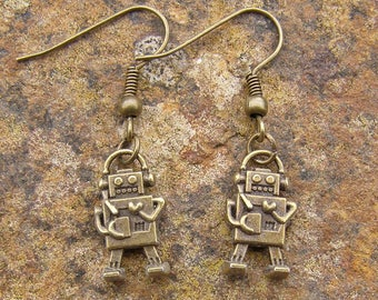 Robot Earrings, Bronze Colour Charm and Hooks Modern Style 1.5cm drop