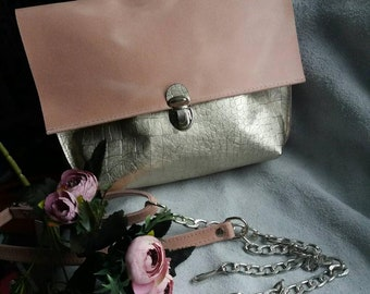 Pink leather shoulder bag Crossbody Leather Bag Handmade  Medium Leather Handbag Women Leather Golden Shoulder Bag Woman Bag Purse Leather