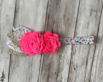 Hot pink/gold flower felt flower baby child elastic headband