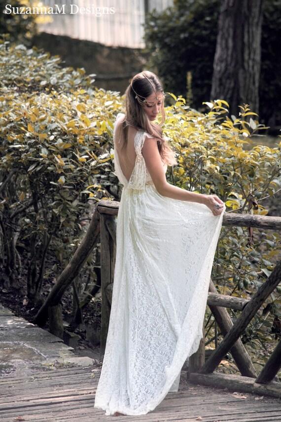 13b2744d1a4 Boho Wedding Dress Cream Wedding Dress Lace Wedding Dress Vintage ...