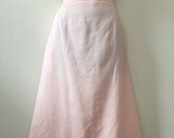Pastel pink skirt, 1980s pencil skirt, XL vintage skirt, pastel skirt, 80s lightweight skirt, cotton skirt, linen skirt, Country Suburbans,