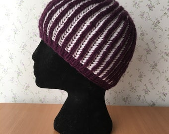 Purple knit beanie Knit slouchy winter hat women knit hat women hat chunky hat wool hat Brioche knitted grey hat slouchy beanie lilac hat