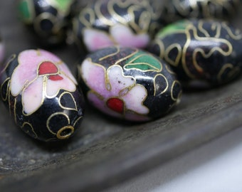 Chinese Cloisonne Beads 18x13mm Oval Black Cloisonne Bead Enamel Beads Metal Beads (2 beads) CL29