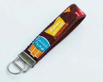 Key Fob - Key Lanyard - Wristlet Lanyard - Fabric Keychains - Wristlet Lanyard - Old-fashioned Diner Signs