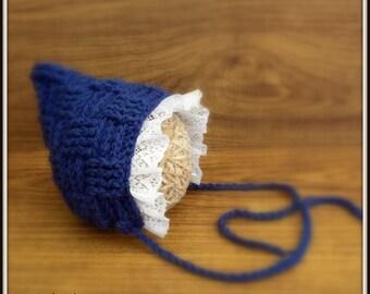 Crochet Vintage Style Baby Bonnet Photo Prop,lace Hat