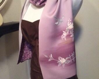 Vintage Japanese Kimono Lavender Flowers with Bird Scarf