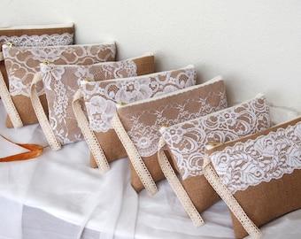 7 burlap lace purses-burlap clutch -bridesmaid clutch -wristlet -Bridesmaid Gift /set of 7-mix design