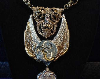 Raised Wings Necklace with 1800's Sterling French Locket