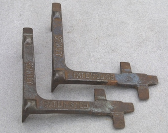 Rare STANLEY No 202 Bench Dog w Early Patent Date Pair of 2