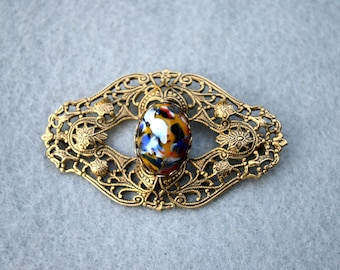 Art Glass Antiqued Filigree Brooch Vintage