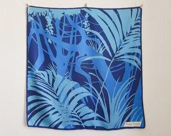 Jeanne Lanvin Vintage silk scarf with plant pattern in blue tones