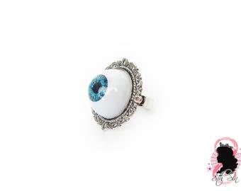 Antique Silver & Blue Eyeball Ring, Blue Eye Ring, Blue Evil Eye Ring, Silver Eyeball Ring, White Eyeball Ring, Doll Eye Ring, BJD Eye Ring