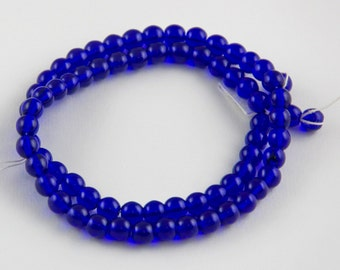 6mm Vibrant Cobalt Blue Czech Glass Round Druk Spacer Beads - 16 inch strand - 70 pieces