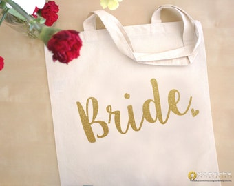 Glitter gold Bride tote bag / Wedding tote bags / Wedding totes / Bridal totes / Bride gift / Glitter gold totes / tote bags / totes
