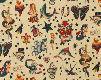 Tattoo in Natural, 100% Cotton Fabric by Alexander Henry Fabric - see four colors