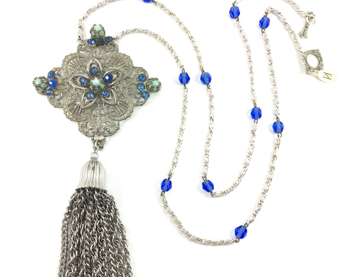 Vintage Silver Filigree Brooch Chain Tassel Necklace Blue Glass Beads Boho