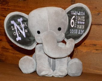 Personalized Custom Elephant Birth Announcement, New Baby Gift, Baby Keepsake Gift, Personalized Nursery Decor, Baby Shower Gift