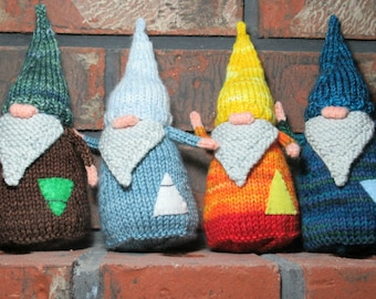 Four Elements Gnomes, Knitted Gnomes, Waldorf Decor, Nature Table Figures, Earth, Air, Fire and Water