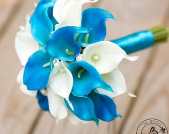 Malibu calla lily bouquet, blue wedding bouquet, turquoise calla bouquet, bridesmaid bouquet, calla lilly bouquet, real touch flower bouquet