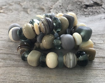 Artisan Lampwork Spacer Beads SRA Earth Tones Neutral Mix Ivory Taupe Gray