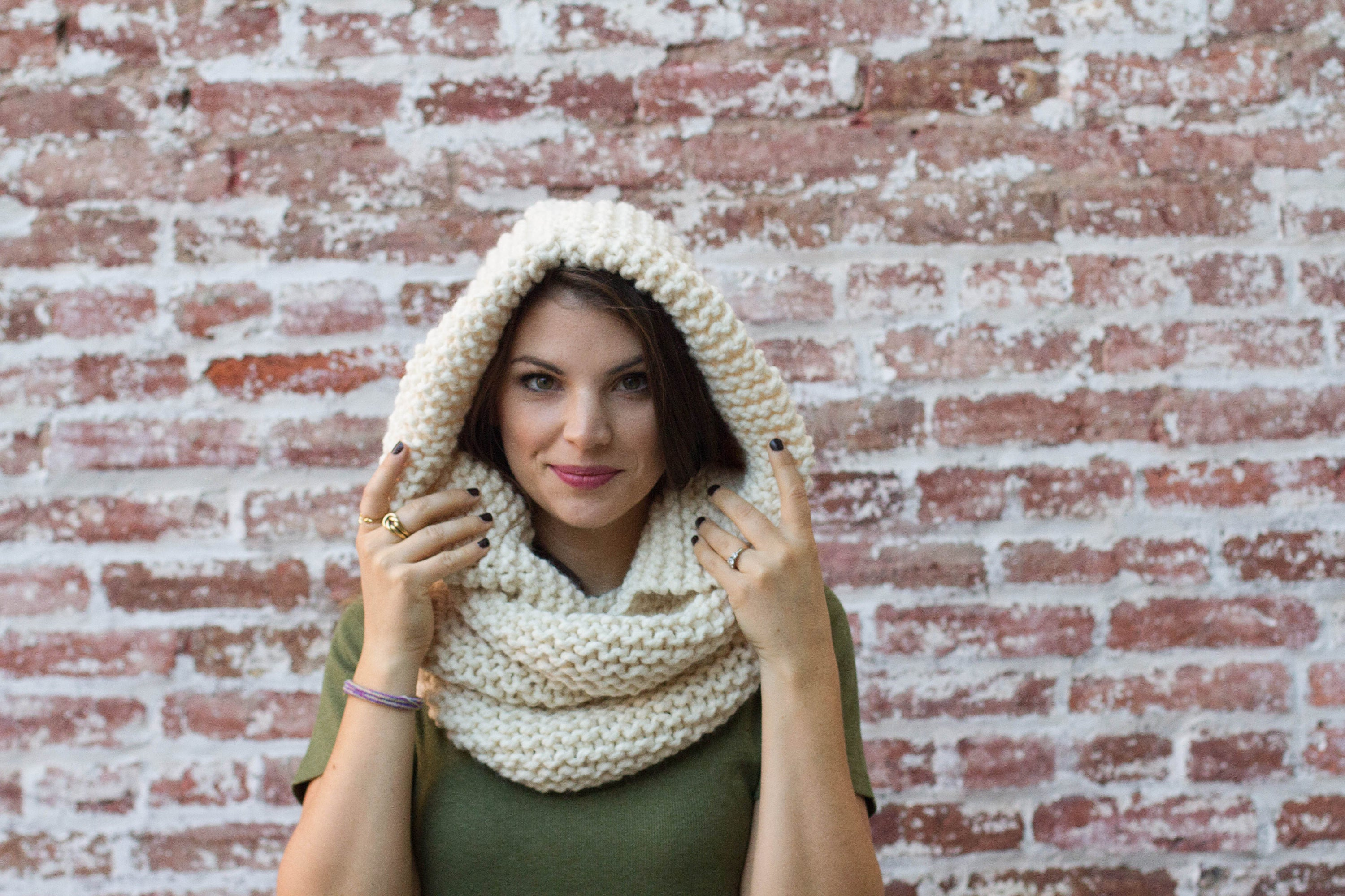 Hooded Cowl KNITTING PATTERN - Hooded Infinity Scarf Knitting ...