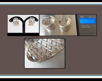 Estate Sterling Silver Lattice Earrings