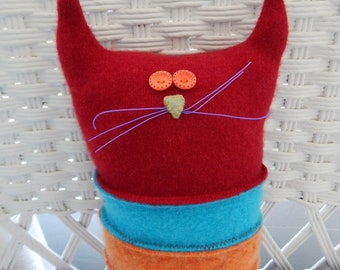 Recycled Cashmere Cat Tooth Fairy Pillow - Red, Turquoise, Orange, Purple and Pink