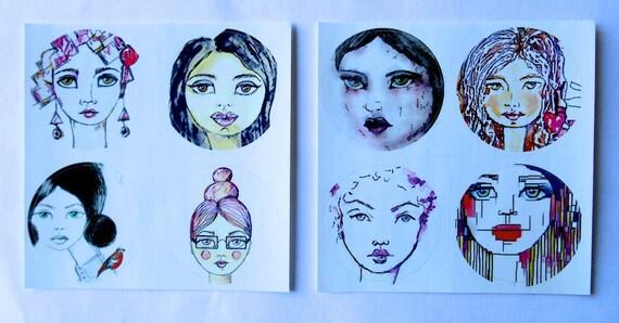 NEW *** ROUND Fine Art Stickers - A few of my favorite Girls 1