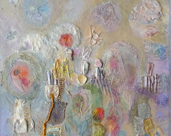Abstract mixed media oil painting, with textiles, in pastel colours