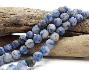 60 beads Blue spot 6 mm - natural blue frosted Pearl - gem stone - stone undyed - A087