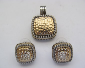 Hammered Silver and Gold Tone Pendant / Earrings