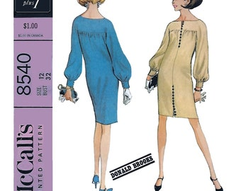 McCall's 8540 Donal Brooks 60s Chemise  Dress Sewing Pattern Size 12 Bust 34